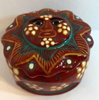 Hand-painted Colorful Sun-Face Art Pottery Terracotta Trinket Box w Lid (Mexico)