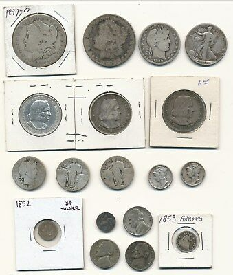 Lot of U.S. Junk Silver with some OLD Collectable Coins: 3c, Half Dime, and More