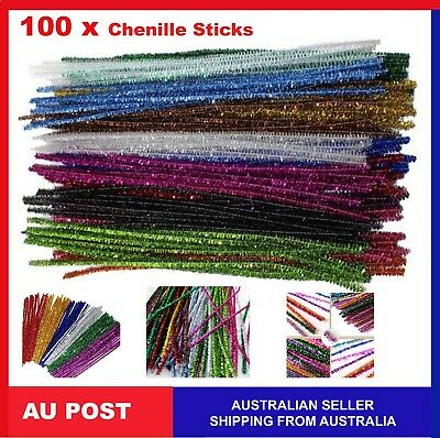 Glitter Chenille Sticks Infused Pipe Cleaners Stems 30cm  craft Asst Colours