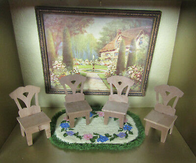 Antique Dollhouse Wood Chair Lot Dining Table Furniture 1800s-1900s Victorian