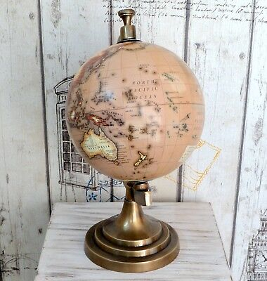Antique Brass Aluminium World Map Globe Rotating Vintage Reproduction Gift Item.