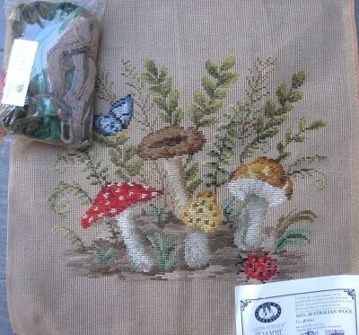 QUEEN ADELAIDE Trammed TAPESTRY CANVAS  & WOOL Kit FOREST MUSHROOMS BUTTERFLY