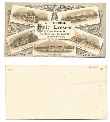 1876 International Expo Advertising Card - J. H. Bingham Hair Dresser  #35