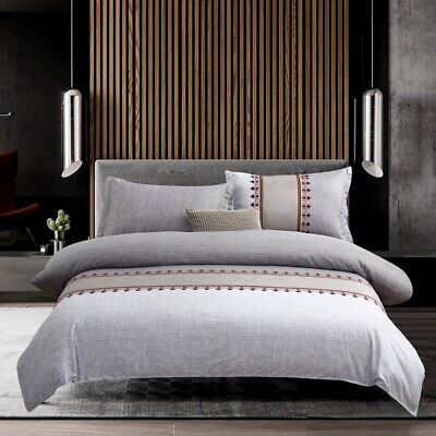 Gray Floral Duvet/Doona/Quilt Cover Set Double Queen King All Size Bed Easy Care