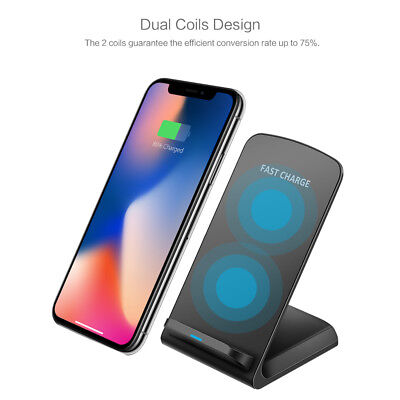 Qi Wireless fast Charger Ladestation Dock induktive Ladegerät für iPhone