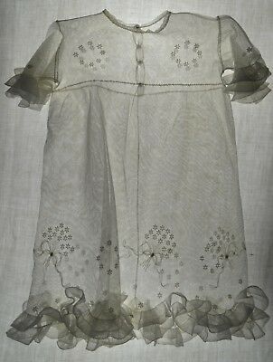 Antique French hand made lace tulle childs' dress, tambour embroider,frill