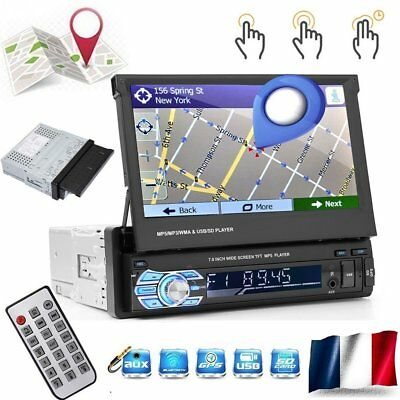 Autoradio Bluetooth GPS 1Din 7 ' 'tactile rétractable multimédia Player FM SD