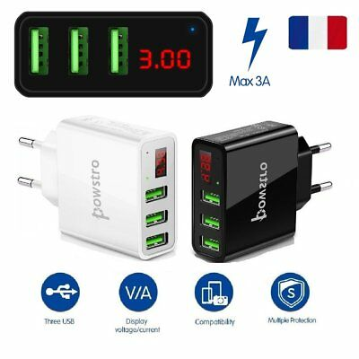 Mural chargeur adaptateur USB Charge 3 Ports Prise LCD 5V/3A Universel