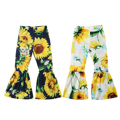 Infant Baby Kids Girls Outfits Sunflower Flared Long Pants Bell-bottom Trousers