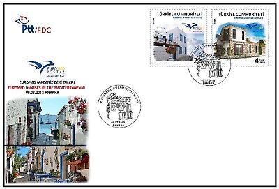 Turkey 2018, Euromed, House In The Mediterranean, Fdc