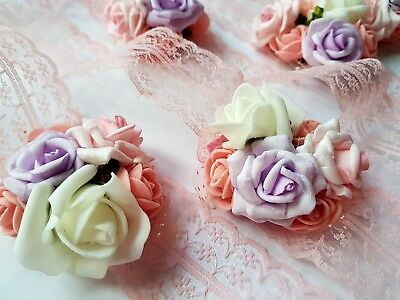 Bundle of 9 baby pink handmade bridesmaid corsage bracelet roses with pink lace