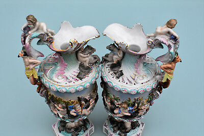 Porcelain Urns Made in Italy in the Capodimonte Style-Giulio Richard  c1800