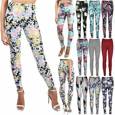 Womens Ladies Floral Summer Printed Stretchy Full Ankle Length Jegging Leggings