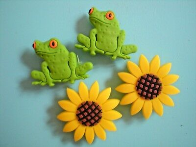 Jibbitz Croc Clog Charm Shoe Plug Button Accessories Bracelet 4 Frog Sun Flower