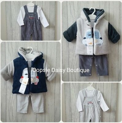 SALE - Baby Boys Gorgeous Spanish Coat Cord Dungarees & Top Set 3 Piece Outfit ☆
