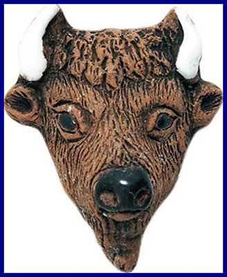 25 By 30Mm Peruvian Hand Crafted Ceramic Buffalo Face Beads BROWN 4 Per Pack