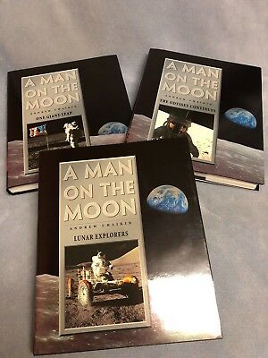 A MAN ON THE MOON - 3 volume set of books - the history of U S  space  program