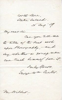 1859, George William Curtis, Civil Rights, anti-slavery author, letter signed