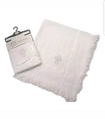 Baby White Christening Shawl Embroidered Cross Luxury Baby Blanket ☆
