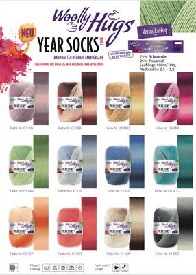 (8,50€/100g) YEAR SOCKS color / Wolly Hugs