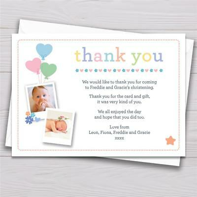 10 Personalised Christening Thank You Cards Baptism Naming Day