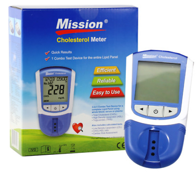 Mission 3 in 1 combo test cholesterol Meter &25 Test device  Lipid Panel
