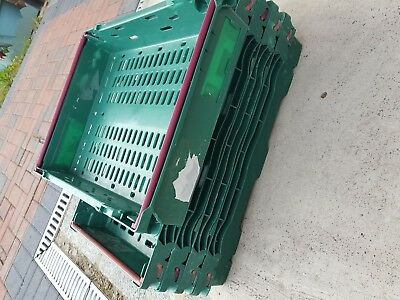 5x Green Bail Arm Crates- Stacking Trays 60x40x9cm