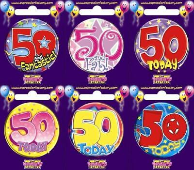 Expression Factory I AM 50 TODAY Happy 50th Birthday Badge Mens Ladies Pink Blue