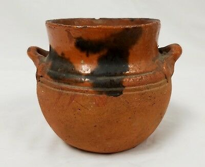 Antique Redware Small Two Handled Pot Connecticut?