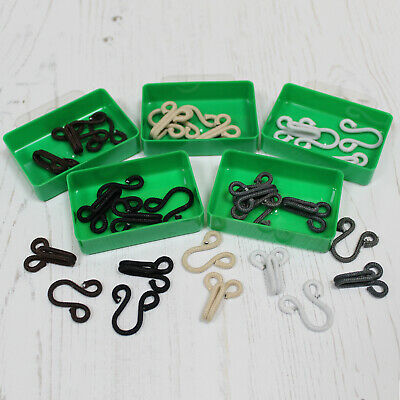 Cotton Covered Fur Hooks & Eyes Fasteners in 5 Coloured Options