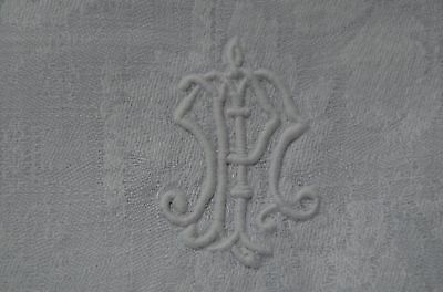5 antique French pure damask linen napkins embroidered MP monograms, ladder work