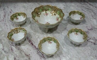 Antique Hand Painted Porcelain Footed Berry Bowl Set~6 Pieces