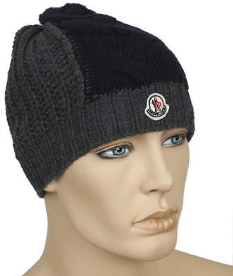 NEW MONCLER DARK Gray Navy Blue Knit Wool Logo Embroider Beanie Hat ... 19f07ca904b
