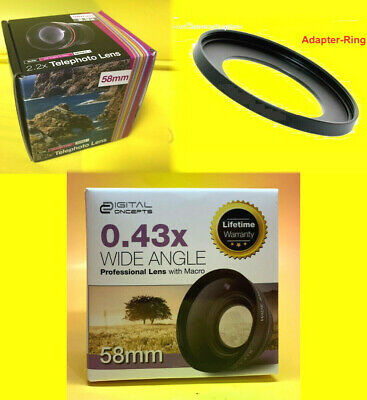 0.43x WIDE ANGLE +2.2x TELEPHOTO LENS+ 55-58 mm to SONY FDR-AX53 18-70 55-200