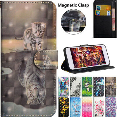 New Hot 3D Pattern Strap Wallet Card Leather Case Cover Skin For Various Phone