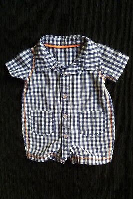 Baby clothes BOY 0-3m navy blue/white check cotton shirt-style romper SEE SHOP!