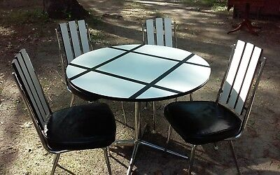 Vintage MID CENTURY CHROMCRAFT Dining FORMICA Kitchen Table Chairs Black White