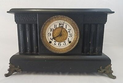Antique Gilbert Mantle Clock,Vintage,8 Day,Shelf,Tambour,Chime,Working,Movement