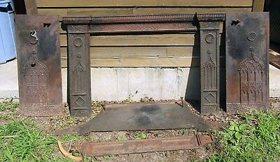 Early Victorian Cast Iron Gothic Fireplace Mantel