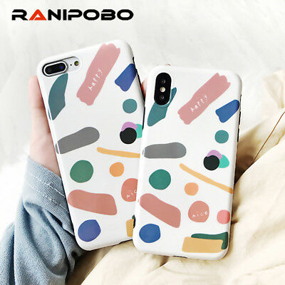 Smooth Colorful Graffiti Geometric Design Phone Cases For iPhone X 8 7 6 6S Plus