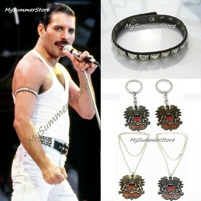 Bohemian Rhapsody QUEEN Rock FREDDIE Mercury Bracelet Keychain Necklace Cosplay