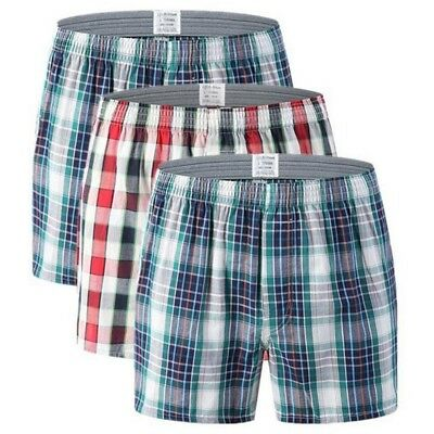 Men's Sports Stretch Cotton Loose Grid Boxer Home Casual Short Underwear Lot