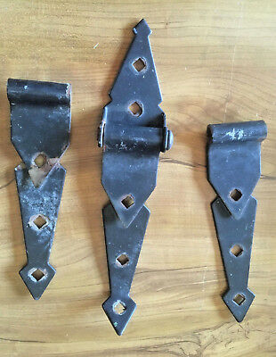 Vintage Cast Iron Rusty Hinges Lot of 3 Barn Door Hardware Vintage Collectibles