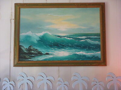 "Mid Century H. Gailey Seascape Oil Painting 25"" X 37"" 1950's - 1960's Signed"