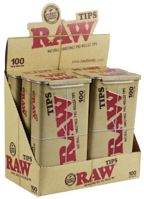 6PC DISPLAY - Raw Pre-Rolled Tips / 100pc Tin