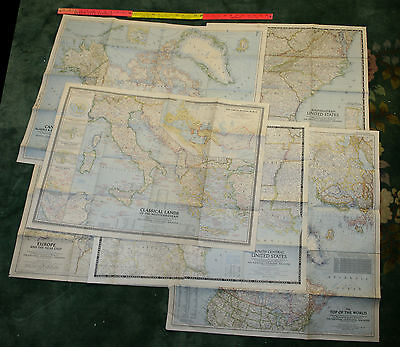 6 Vintage Nat Geo Maps Canada, SE & SC USA Europe Classical Med North Pole
