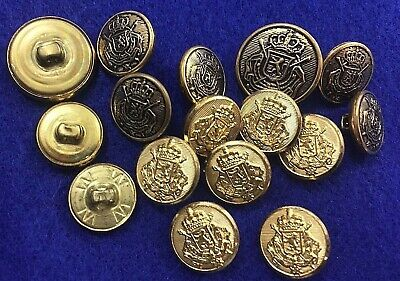 +Vintage Brass Buttons Possibly Military Omega Lion Crest Crown