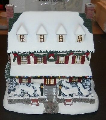 "Hawthorne Village Thomas Kinkade ""Village Christmas Inn"" Lighted Christmas Piece"