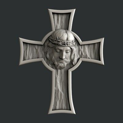 3d STL models for CNC, Artcam, Aspire, cross Jesus1