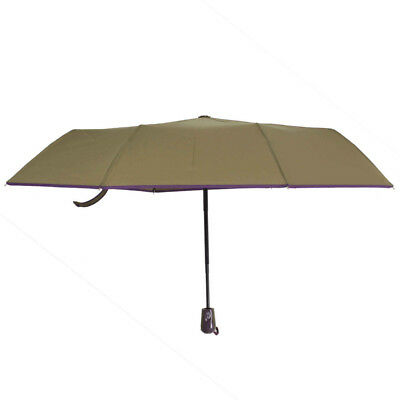 Fully-automatic Windproof Open Sturty Metal Pongee 3 Folding Umbrella Brown NEW
